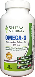 Shifaa Naturals 100% Pure Wild Alaskan Salmon Oil Omega 3, 1000 mg, Halal Certified, Gluten Free & Non-GMO,...