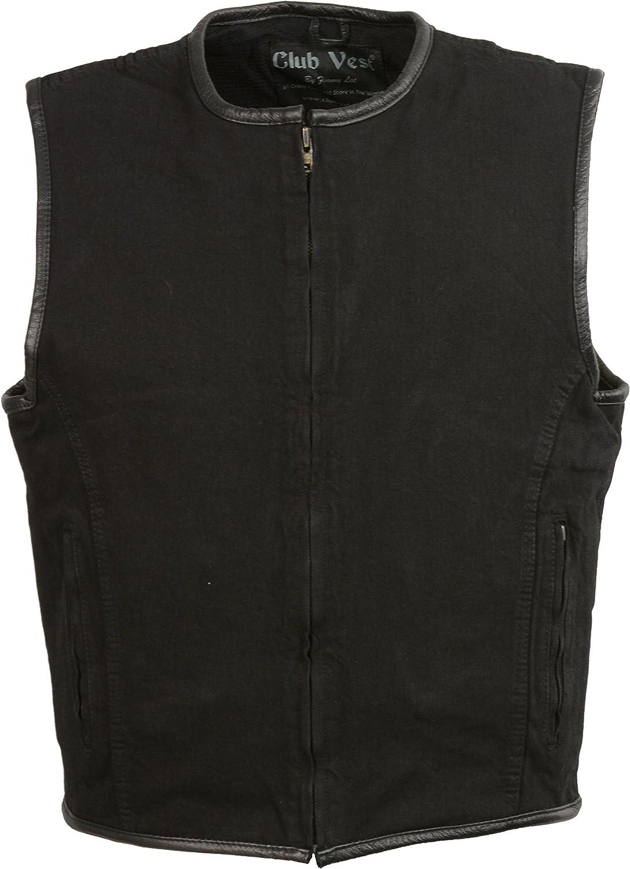 Club Vest Men's Zipper Front Denim Vest w/Leather Trim