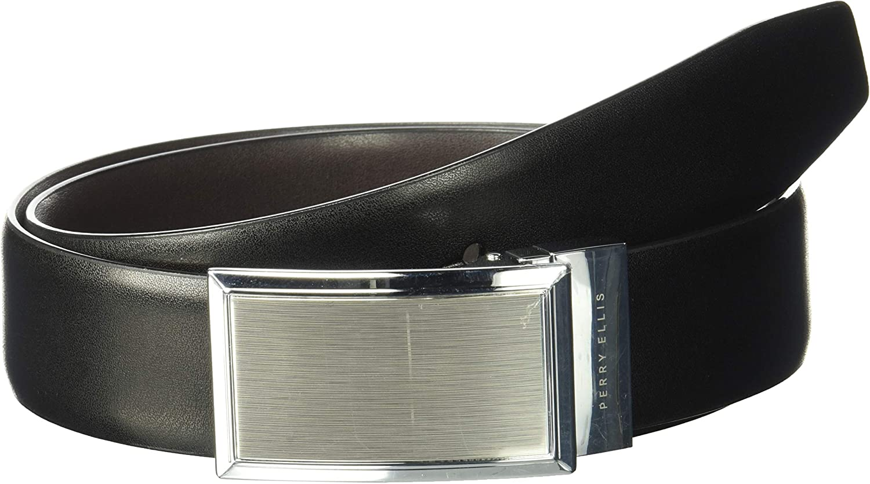 Perry Ellis Men's Portfolio Nickle Finish Plaque Reversible Belt