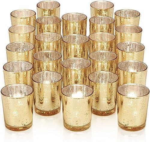 new arrival DARJEN 24Pcs Gold Votive Candle Holders for Table - high quality Mercury Glass Votives Gold Candle Holder - sale Tealight Candle Holder for Wedding Centerpieces & Party Decorations online sale