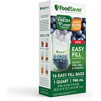 FoodSaver Easy Fill 1-Quart Vacuum Sealer Bags | Commercial Grade and Reusable | 16 Count, Clear