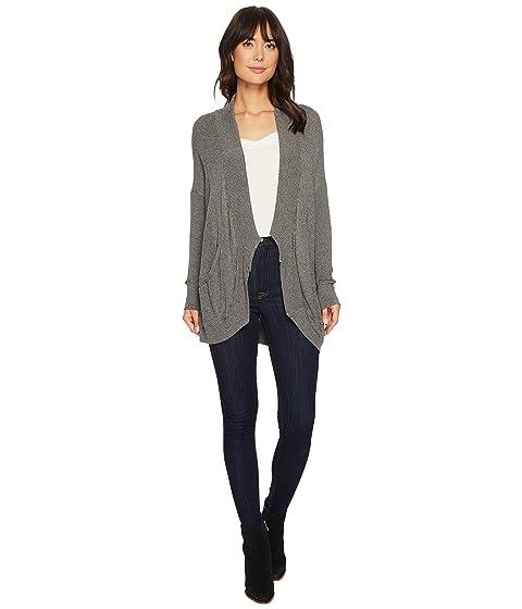 ALLEN ALLEN Thermal Sweater Long Sleeve Cardigan, Heather Grey