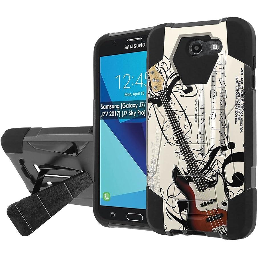 [Nakedshield] Phone Case For Samsung [Galaxy J7/J7V[2017][J7 Prime/Perx/Sky Pro][Galaxy Halo] [Black/Black] Shock Proof [Screen Protector]- [Music Guitar] Print Design