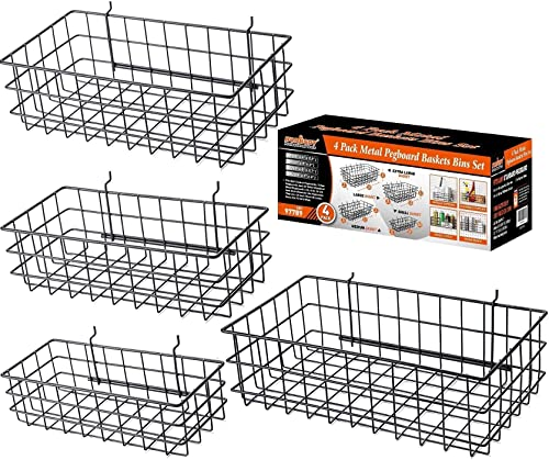 high quality HORUSDY 4 Pack Pegboard Baskets, 2021 4 Size Pegboard Baskets Bins Set for Organizing Various 2021 Tools online sale