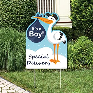 Big Dot of Happiness Boy Special Delivery - Baby Shower Decorations - Blue It's A Boy Stork Baby Announcement & Welcome Yard Sign