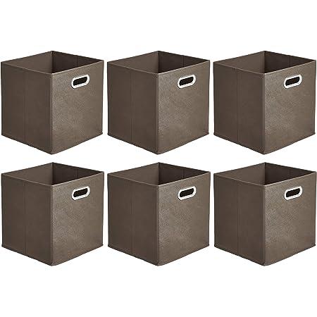 Amazon Basics Lot de 6 cubes de rangement pliables en tissu avec œillets ovales Taupe