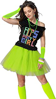 80's Party Womens Retro Costume Accessories Outfit Dress for 1980s Theme Party Supplies