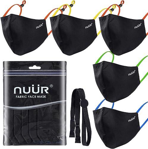 NUÜR Lot de 5 masques pour enfants 100 % coton respirant, boucles d'oreilles contrastées réglables, protection 3 couc...