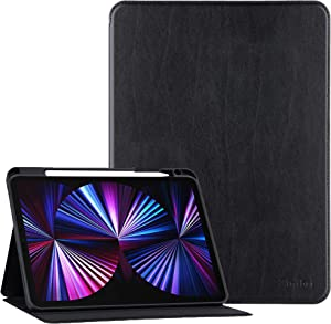 Zinibri Cover for iPad Pro 11 Inch Case 3rd/2nd/1st Generation 2021&2020&2018 with Pencil Holder, Smart Folio PU Leather Case Protective Stand Magnetic Shockproof with Auto Sleep/Wake,Black