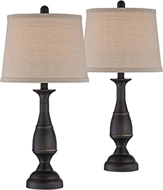 Ben Farmhouse Traditional Table Lamps Set of 2 Dark Bronze Brown Metal Beige Linen Drum Shade Decor for Living Room Bedroom H