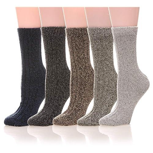 1cc5cb77ed2 Womens 5 Pairs Soft Thick Comfort Casual Cotton Warm Wool Crew Winter Socks