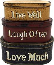 "CVHOMEDECO. Primitives Vintage Oval ""Live Well, Laugh Often, Love Much"" Cardboard Nesting Boxes, Large 9-3/4 x 5-1/2 x 4 I..."