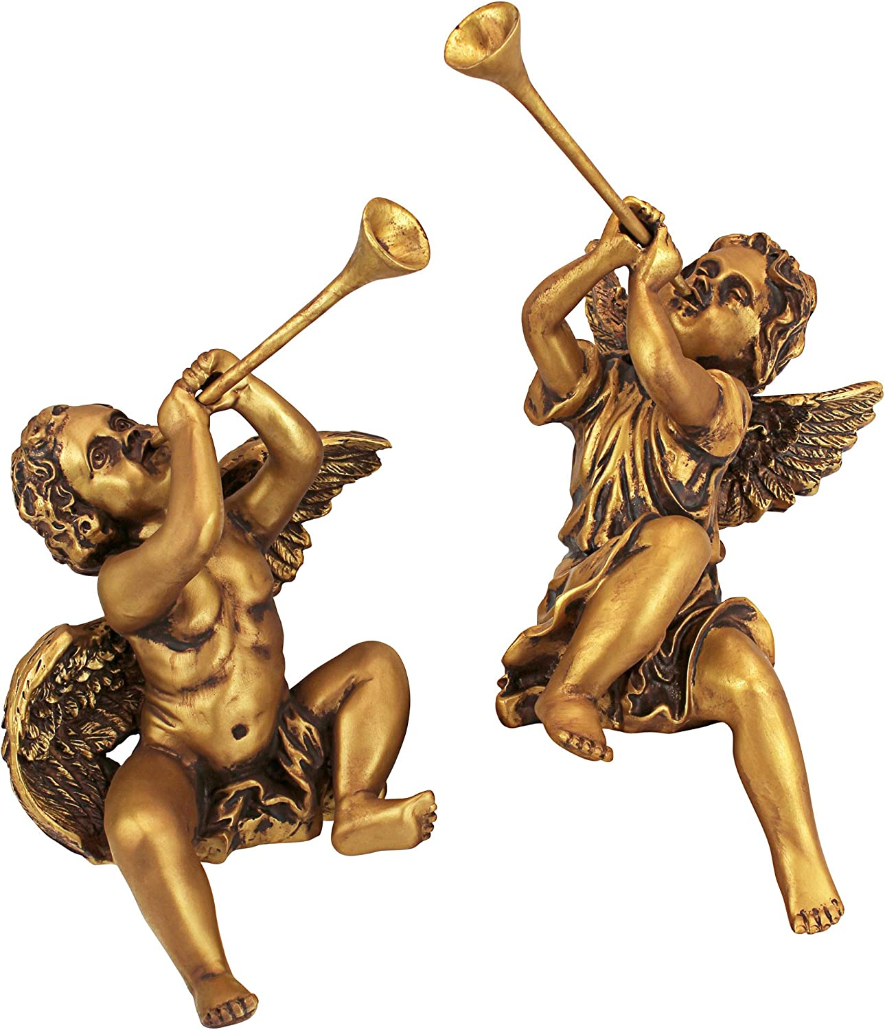 Design Toscano Christmas Decorations - Trumpeting Angel Boy and Girl of St. Peters Square - Holiday Angel Statue