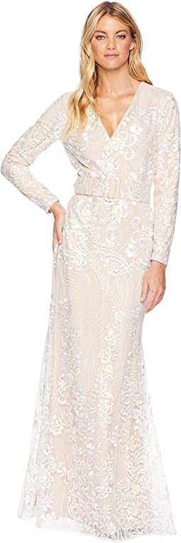 Ivory Embellished Long Sleeve Dress