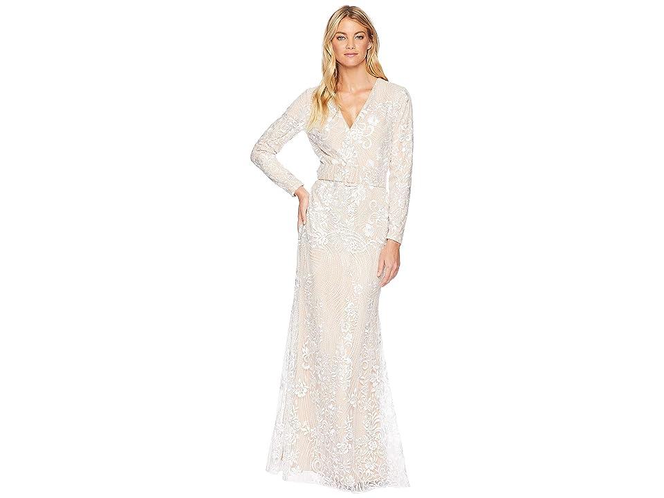 Badgley Mischka Ivory Embellished Long Sleeve Dress (Ivory) Women