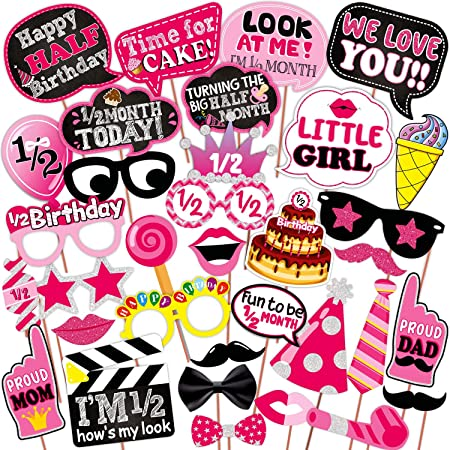 WOBBOX Half Birthday Photo Booth Party Props Pink for Baby Girl , 1/2 Birthday Decorations for Girl , Kids Birthday Party Decoration Items