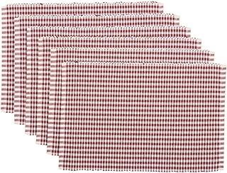 VHC Brands Harvest & Thanksgiving Farmhouse Tabletop & Kitchen - Tara Orange Ribbed Placemat Set of 6, Rust