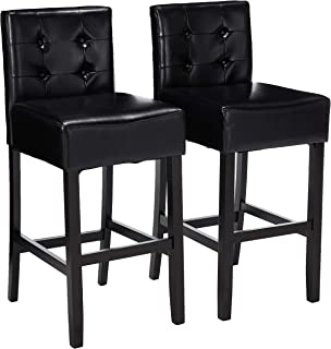 Christopher Knight Home 214508 Gregory Black Tufted Leather Back Bar Stool (Set of 2)