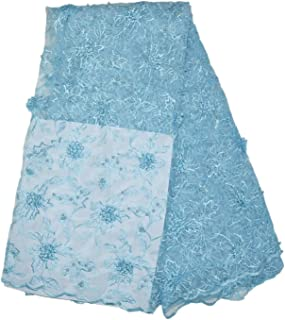 LaceQiao 5 Yards Newest 2018 3D Flower African Lace Fabrics French Bridal Beaded Nigerian Lace Tulle Lace Fabric with Beads for Wedding Party Dress (Light Blue)