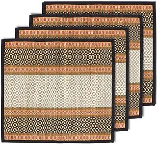 MADHABI Kusha Grass Checkered Traditional Mat for Pooja Black , 18inch X 18inch 4 Piece