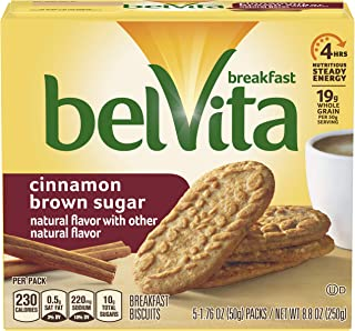 belVita Breakfast Biscuits, Cinnamon Brown Sugar Flavor, 30 Packs (5 Biscuits Per Pack)