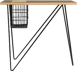 Furniture HotSpot – Magazine Snack Table/Side Table - Black w/Natural Oak - 24