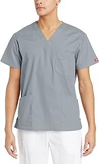 Dickies Mens 81906 Xtreme Stretch Men's V-Neck Scrub Top Medical Scrubs Shirt - Gray - Medium
