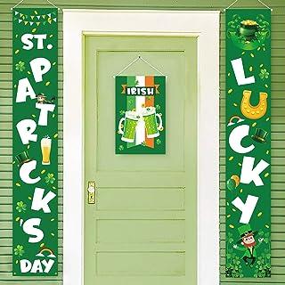 Geefuun St. Patrick's Day Decorations Banner - Saint Shamrock Porch Sign Leprechaun Decor Hanging Front Door Indoor Outdoo...