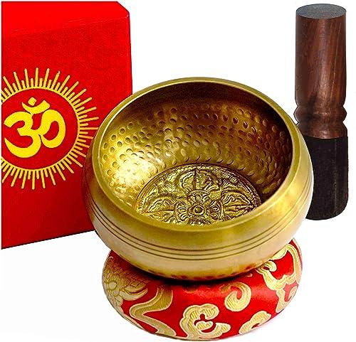 TARORO Bol chantant Ø12cm, fait main au Népal ~ 7 Métaux ~ Vendu avec un coussin en soie rouge, un maillet et une boî...
