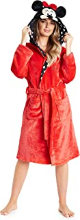 Disney Ladies Dressing Gown, Minnie Mouse Fleece Hooded Robe, Gifts for Women