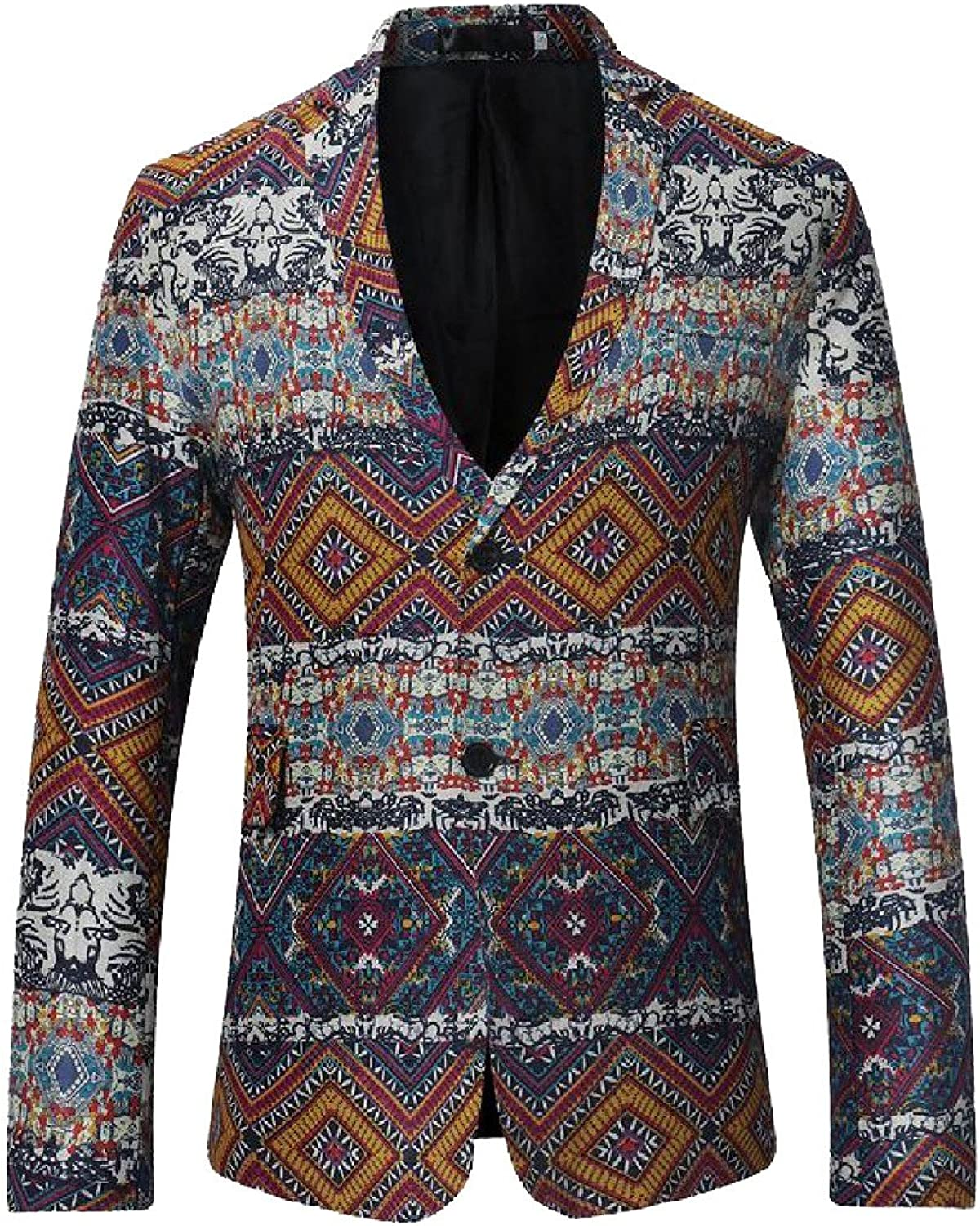 RingBong Mens Lapel Button Floral Retro Style Casual Long-Sleeve T-Shirts Shirt Clothing