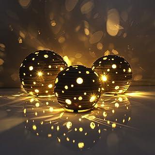 Gadgy® Luces Led Decorativas de mesa | Conjunto de 3 lamparas de noche de 8,10 y 12 cm | Fairy Lights hecha a mano con efecto de sombra natural | Lámpara por habitacion a pilas
