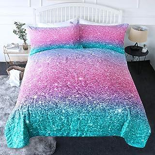 Blessliving 3 Piece Comforter Set – 3D Printed Pink Glitter Bedding Set with Pillow Shams Girls Women Reversible Comforter...