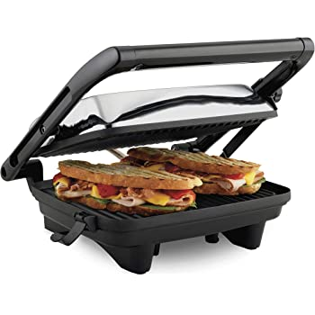 """Hamilton Beach Electric Panini Press Grill with Locking Lid, Opens 180 Degrees for any Sandwich Thickness (25460A) Nonstick 8"""" X 10"""" Grids Chrome Finish, Medium"""