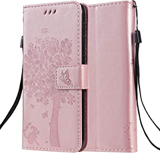 C-Super Mall Case for OPPO F17 Pro/Reno4 Lite/A93/Reno4 F, Embossed Tree Cat Butterfly Pattern Stand Flip Magnetic Closure...