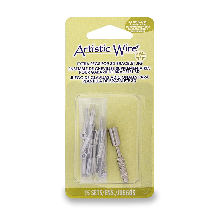 Artistic Wire 228S-555 3D Bracelet Jig Extra Pegs with Nuts & Socket Tool