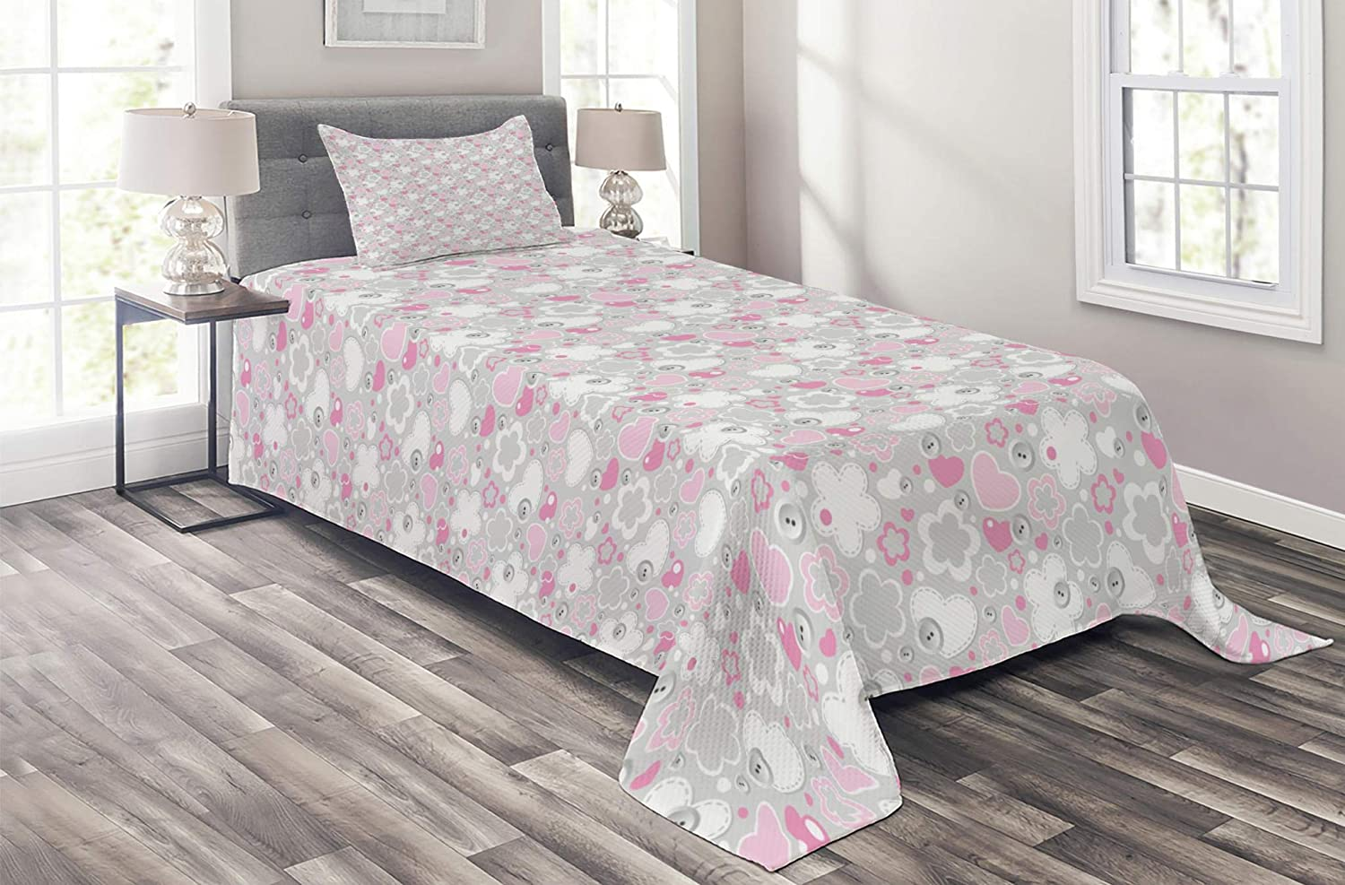 Lunarable NEW before selling ☆ Grey Coverlet 5 ☆ popular Patchwork Abstract Style Flowers Hearts