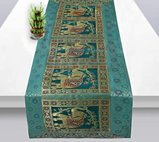 Real Online Seller Indian Rectangle Hand Art Elephant Good Luck Silk Table Runner 60 x 16 Inch Golden Color Table Cloth