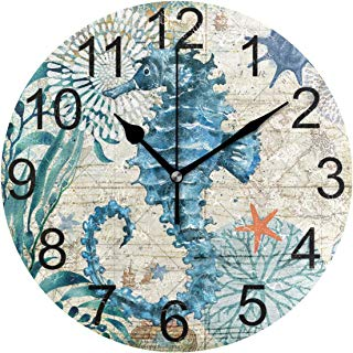 LUCASE LEMON ALEX Blue Seahorse Nautical Map Round Acrylic Wall Clock Non Ticking Silent Clocks for Home Decor Living Room Kitchen Bedroom Office School
