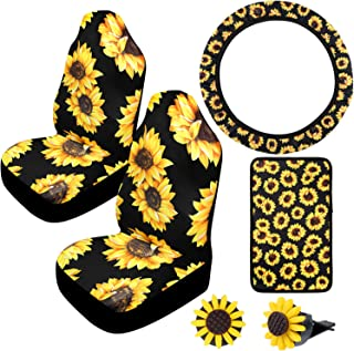 Boao 6 Pieces Sunflower Car Accessories Set, Includes Sunflower Steering Wheel Cover, 2 Pieces Car Front Seat Covers, 2 Pieces Sunflower Air Vent Clips and Center Console Armrest Pad Cover
