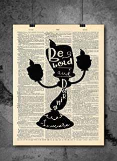 Beauty And The Beast - Candle Stick - Vintage Art - Authentic Upcycled Dictionary Art Print - Home or Office Decor - Inspirational And Motivational Quote Art