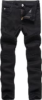 Boy's Slim Moto Biker Skinny Ripped Distressed Stretch Fashion Fit Denim Jeans