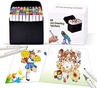 comprar comparacion Pachock 60 color Arte Dibujo Marcadores de Punta Doble - Doble Cara Marcadores del Bosquejo del Rotulador