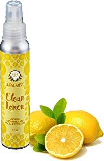 Aira Mist Clean Lemon Organic Room Spray - Essential Oil Spray with Therapeutic Essential Oils of Lemon & Orange - Living Room Spray & Bathroom Spray Free of Alcohol & Parabens - 4 Ounces