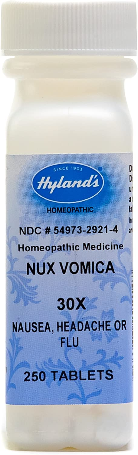 Hyland's Nux Vomica 30X Tablets, Natural Homeopathic Hangover Relief, Relief of Nausea, Headache or Flu, 250 Count