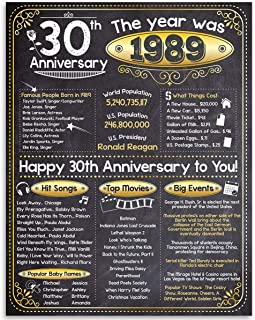 Happy 30th Anniversary (Thirty, 30) - Year 1989-11x14 Unframed Art Print - Makes a Perfect Anniversary Gift Under $15 for 30th Anniversary Celebrants