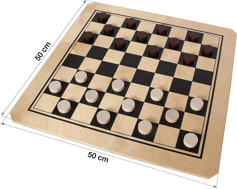 Bartl 106616 Brettspiel Ludo groß aus Holz XXL Format 50cm x 50cm Mühle und Dame