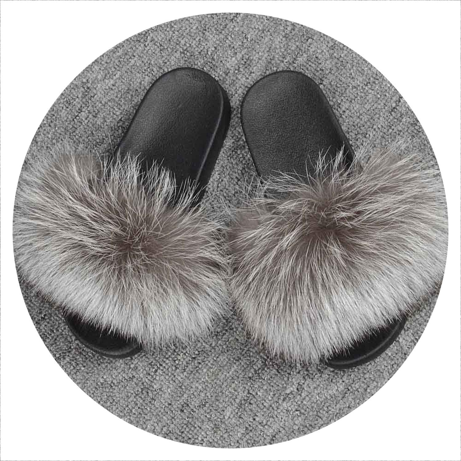 I Need Need Need -You 2019 ny Fur Slieds Woherrar Real Fox Fur Slippers skor Flip Flops Flat Fluffy Fur Detaljhandel S6018F  global distribution