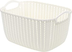 HOUZE Braided Storage Basket with Handle, White, Medium