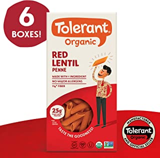 Tolerant Organic Gluten Free Red Lentil Penne Pasta, 8 Ounce Box (Case of 6), Plant Based Protein, Vegan Pasta, Single Ingredient Protein Pasta, Whole Food, Clean Pasta, Low Glycemic Index Pasta …